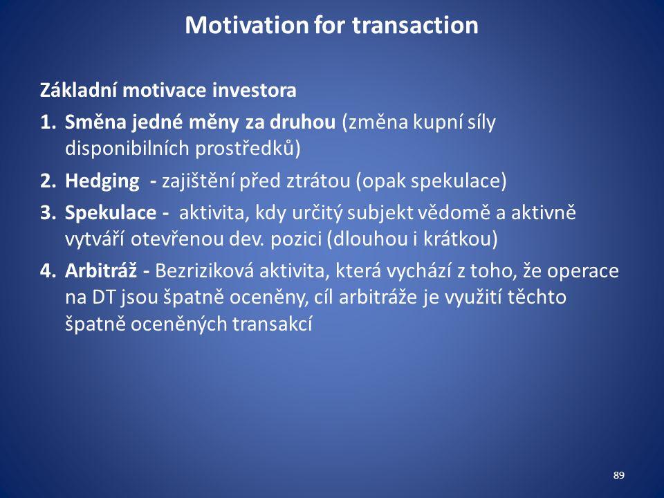 Motivation for transaction Základní motivace investora 1.Směna jedné měny za druhou (změna kupní síly disponibilních prostředků) 2.Hedging - zajištění před ztrátou (opak spekulace) 3.Spekulace - aktivita, kdy určitý subjekt vědomě a aktivně vytváří otevřenou dev.