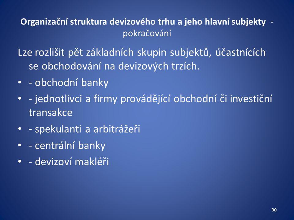 Organizační struktura devizového trhu a jeho hlavní subjekty - pokračování Lze rozlišit pět základních skupin subjektů, účastnících se obchodování na devizových trzích.