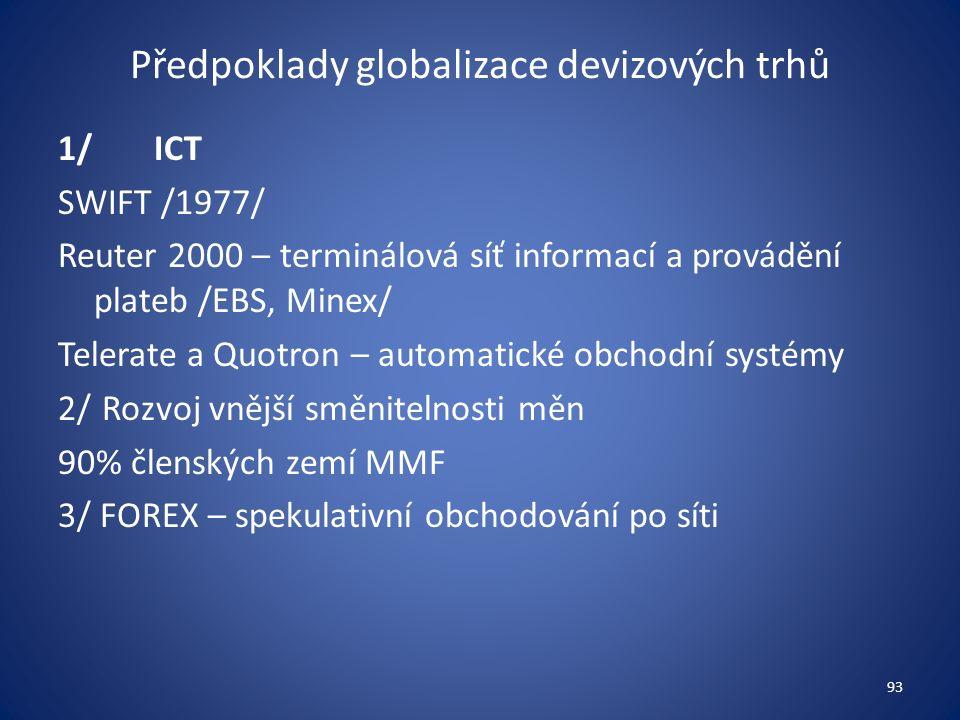 Předpoklady globalizace devizových trhů 1/ICT SWIFT /1977/ Reuter 2000 – terminálová síť informací a provádění plateb /EBS, Minex/ Telerate a Quotron – automatické obchodní systémy 2/ Rozvoj vnější směnitelnosti měn 90% členských zemí MMF 3/ FOREX – spekulativní obchodování po síti 93