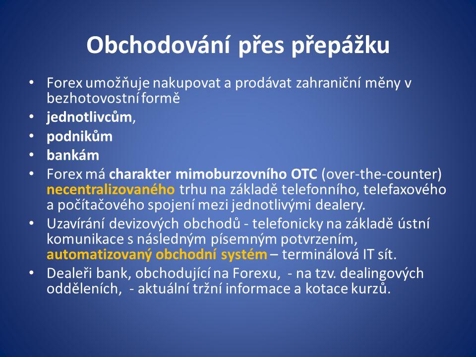 Obchodování přes přepážku Forex umožňuje nakupovat a prodávat zahraniční měny v bezhotovostní formě jednotlivcům, podnikům bankám Forex má charakter m
