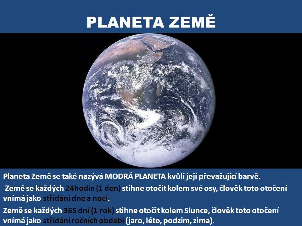 PLANETA ZEMĚ Planeta Země se také nazývá MODRÁ PLANETA kvůli její převažující barvě. Země se každých 24hodin (1 den) stihne otočit kolem své osy, člov