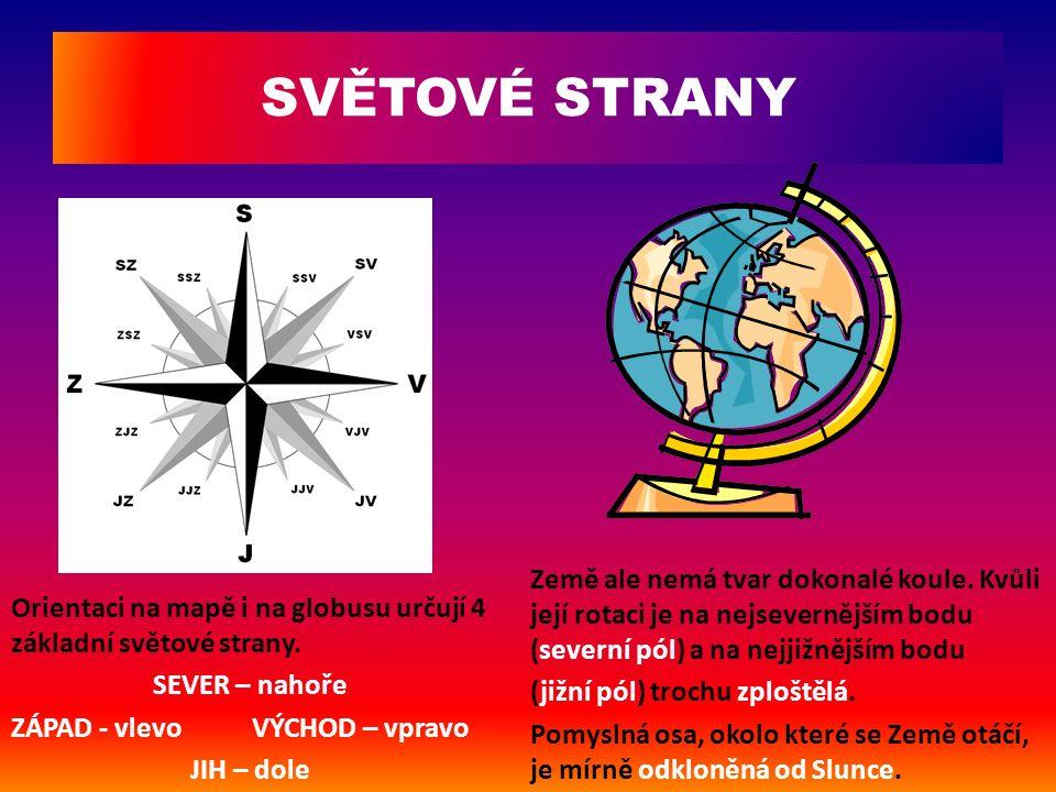Orientaci na mapě i na globusu určují 4 základní světové strany. SEVER – nahoře ZÁPAD - vlevo VÝCHOD – vpravo JIH – dole Země ale nemá tvar dokonalé k