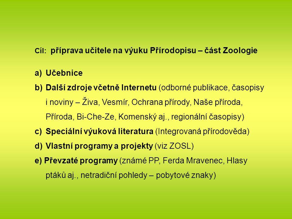 Cíl: příprava učitele na výuku Přírodopisu – část Zoologie a)Učebnice b)Další zdroje včetně Internetu (odborné publikace, časopisy i noviny – Živa, Vesmír, Ochrana přírody, Naše příroda, Příroda, Bi-Che-Ze, Komenský aj., regionální časopisy) c)Speciální výuková literatura (Integrovaná přírodověda) d)Vlastní programy a projekty (viz ZOSL) e) Převzaté programy (známé PP, Ferda Mravenec, Hlasy ptáků aj., netradiční pohledy – pobytové znaky)