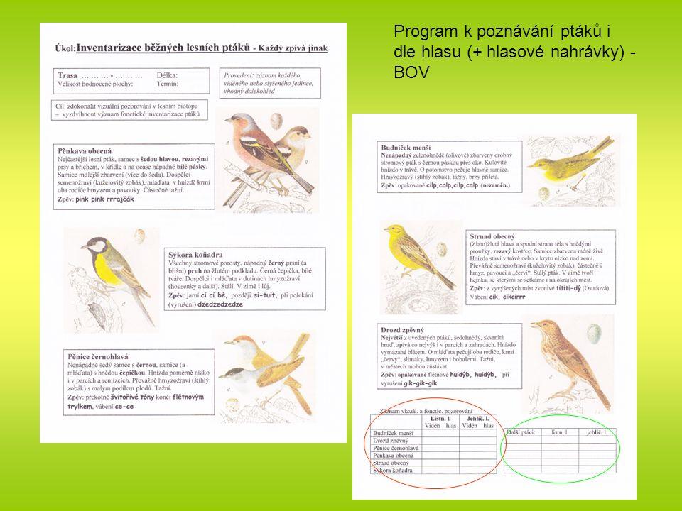 Program k poznávání ptáků i dle hlasu (+ hlasové nahrávky) - BOV