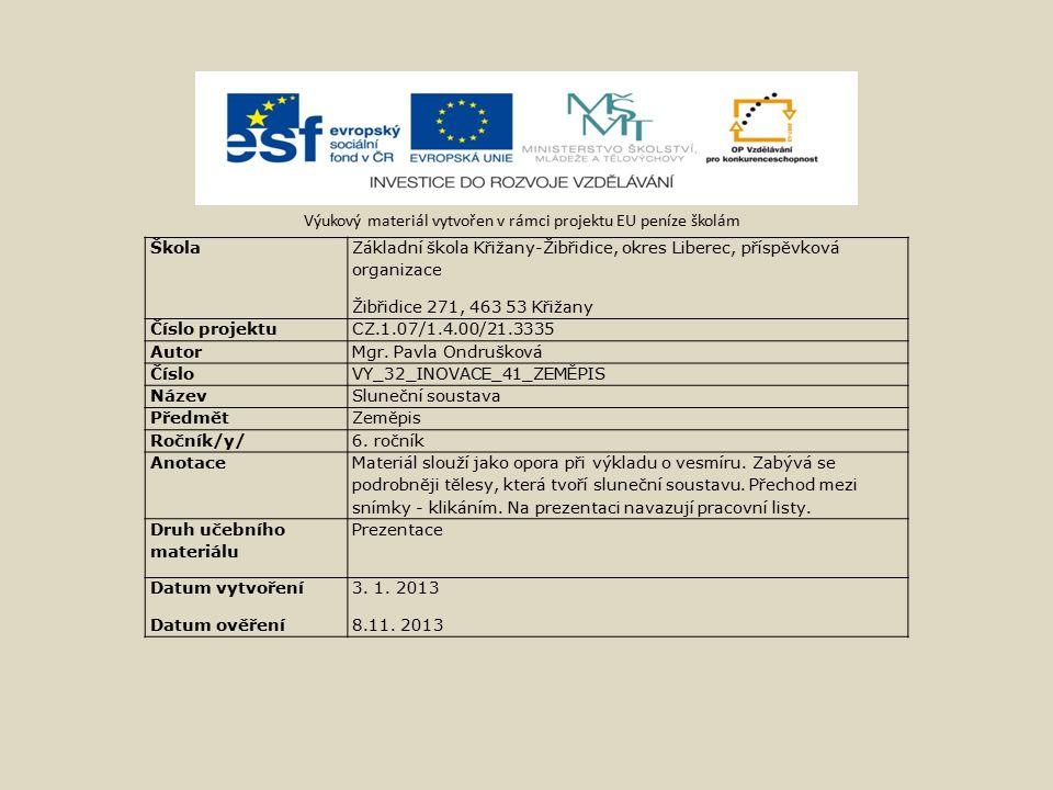 Výukový materiál vytvořen v rámci projektu EU peníze školám Škola Základní škola Křižany-Žibřidice, okres Liberec, příspěvková organizace Žibřidice 271, 463 53 Křižany Číslo projektuCZ.1.07/1.4.00/21.3335 Autor Mgr.