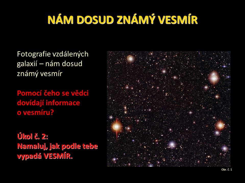 NÁM DOSUD ZNÁMÝ VESMÍR Fotografie vzdálených galaxií – nám dosud známý vesmír Pomocí čeho se vědci dovídají informace o vesmíru.