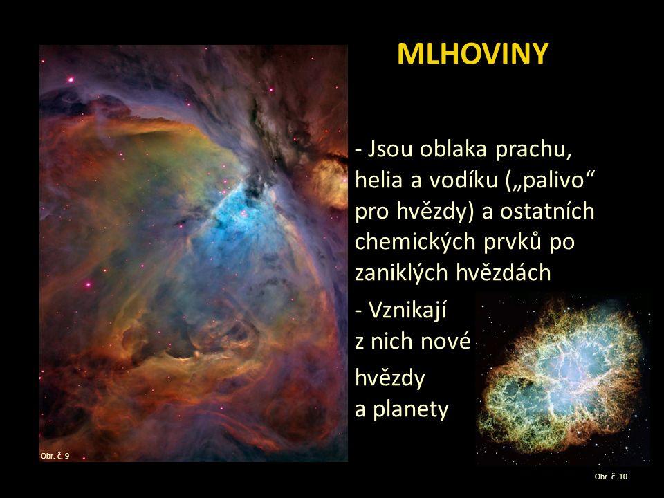 """- Jsou oblaka prachu, helia a vodíku (""""palivo pro hvězdy) a ostatních chemických prvků po zaniklých hvězdách - Vznikají z nich nové hvězdy a planety MLHOVINY Obr."""