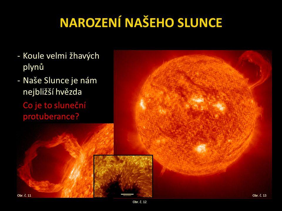 NAROZENÍ NAŠEHO SLUNCE -Koule velmi žhavých plynů -Naše Slunce je nám nejbližší hvězda Co je to sluneční protuberance.