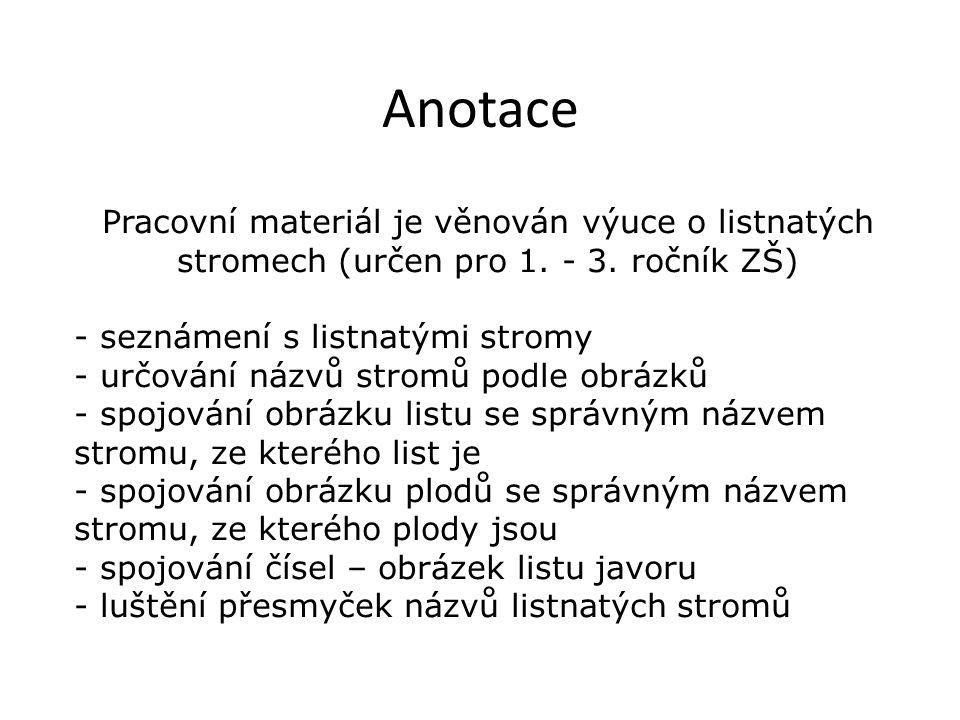 Anotace Pracovní materiál je věnován výuce o listnatých stromech (určen pro 1.