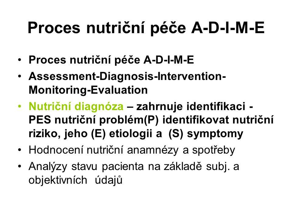 Proces nutriční péče A-D-I-M-E Assessment-Diagnosis-Intervention- Monitoring-Evaluation Nutriční diagnóza – zahrnuje identifikaci - PES nutriční problém(P) identifikovat nutriční riziko, jeho (E) etiologii a (S) symptomy Hodnocení nutriční anamnézy a spotřeby Analýzy stavu pacienta na základě subj.