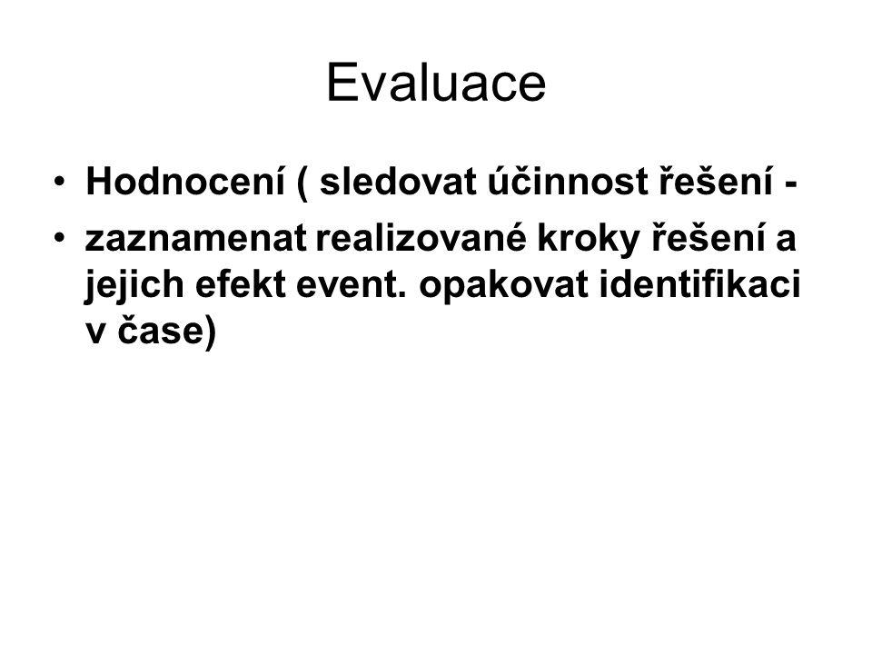 Evaluace Hodnocení ( sledovat účinnost řešení - zaznamenat realizované kroky řešení a jejich efekt event.