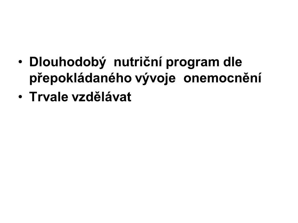Dlouhodobý nutriční program dle přepokládaného vývoje onemocnění Trvale vzdělávat