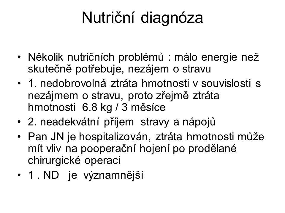 Nutriční diagnóza Několik nutričních problémů : málo energie než skutečně potřebuje, nezájem o stravu 1.