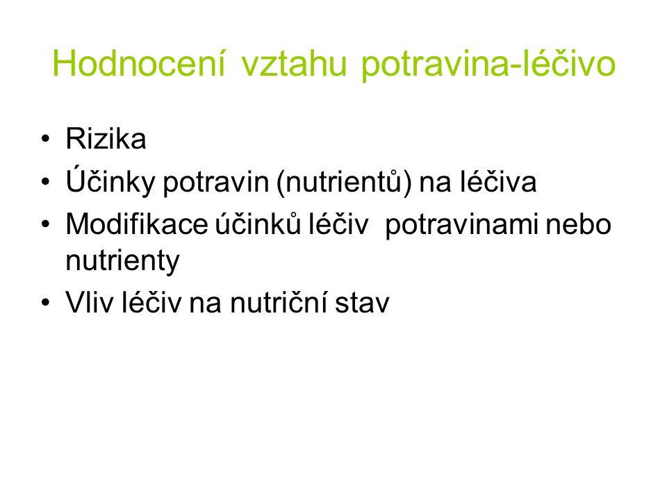 Hodnocení vztahu potravina-léčivo Rizika Účinky potravin (nutrientů) na léčiva Modifikace účinků léčiv potravinami nebo nutrienty Vliv léčiv na nutriční stav
