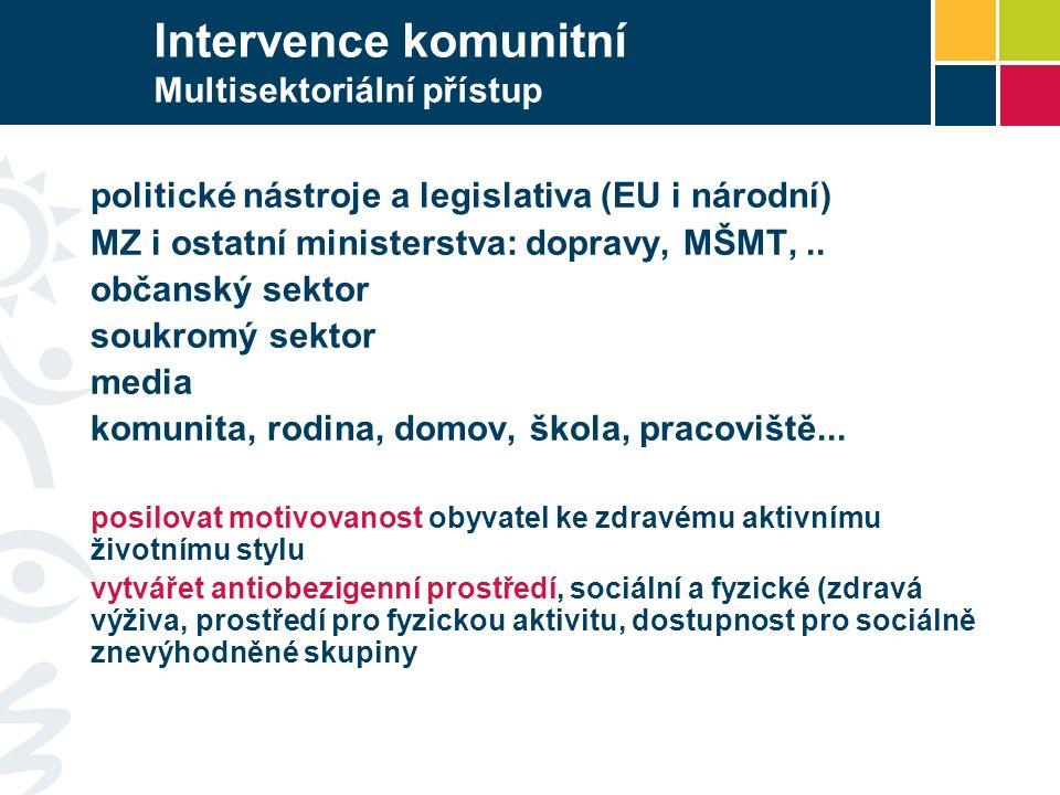 Intervence komunitní Multisektoriální přístup politické nástroje a legislativa (EU i národní) MZ i ostatní ministerstva: dopravy, MŠMT,.. občanský sek