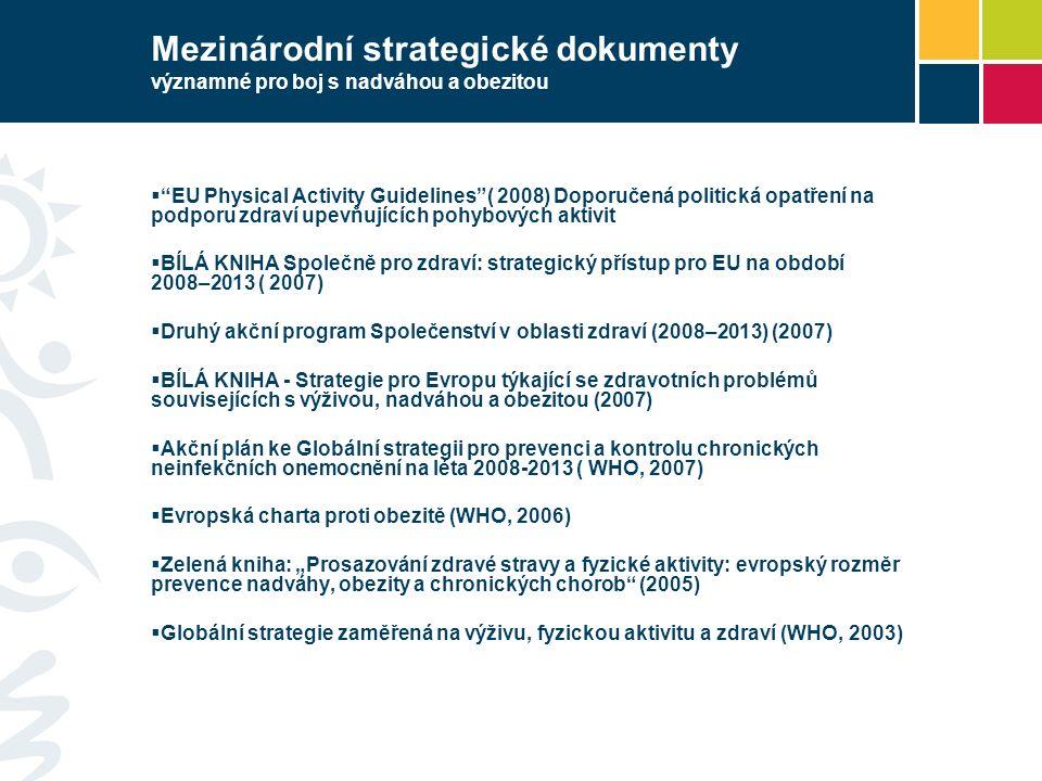 """Mezinárodní strategické dokumenty významné pro boj s nadváhou a obezitou  """"EU Physical Activity Guidelines""""( 2008) Doporučená politická opatření na p"""