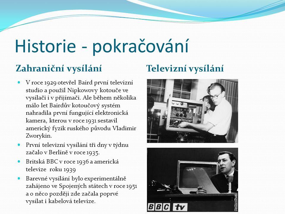 Historie - pokračování Zahraniční vysílání Televizní vysílání V roce 1929 otevřel Baird první televizní studio a použil Nipkowovy kotouče ve vysílači