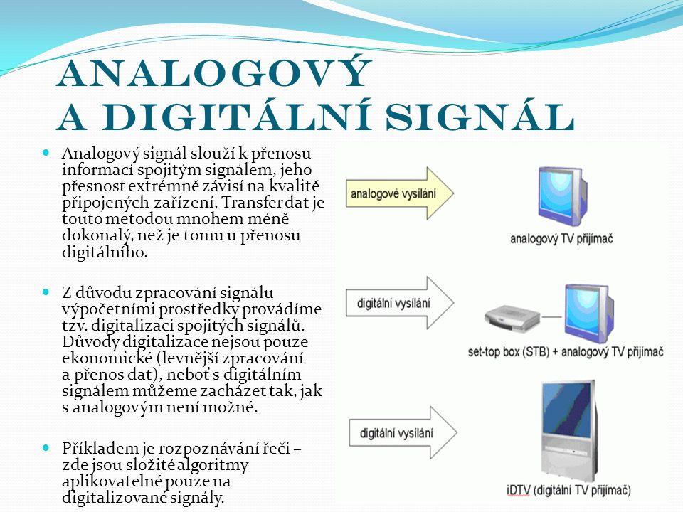 Analogový a digitální signál Analogový signál slouží k přenosu informací spojitým signálem, jeho přesnost extrémně závisí na kvalitě připojených zařízení.