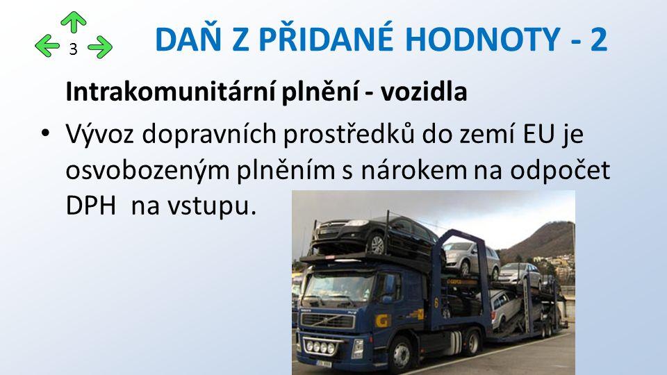 Intrakomunitární plnění - vozidla Vývoz dopravních prostředků do zemí EU je osvobozeným plněním s nárokem na odpočet DPH na vstupu.