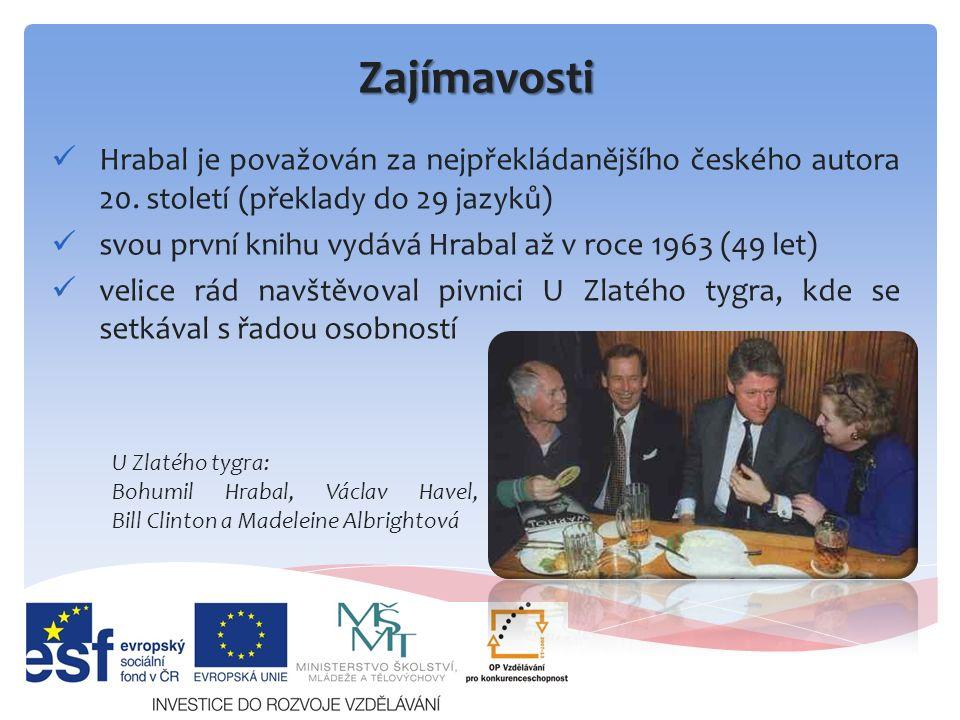 Zajímavosti Hrabal je považován za nejpřekládanějšího českého autora 20.