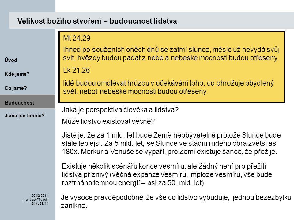 Budoucnost Co jsme. 20.02.2011 ing. Josef Tuček Slide 36/48 Kde jsme.