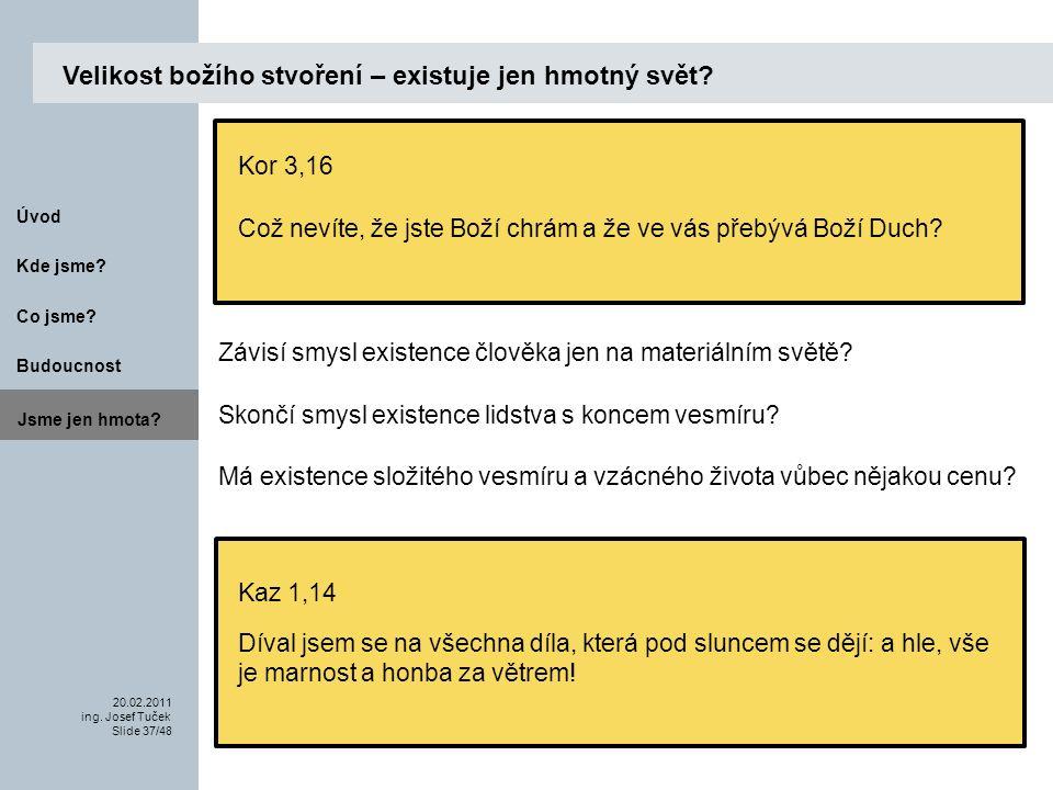 Budoucnost Co jsme. 20.02.2011 ing. Josef Tuček Slide 37/48 Kde jsme.
