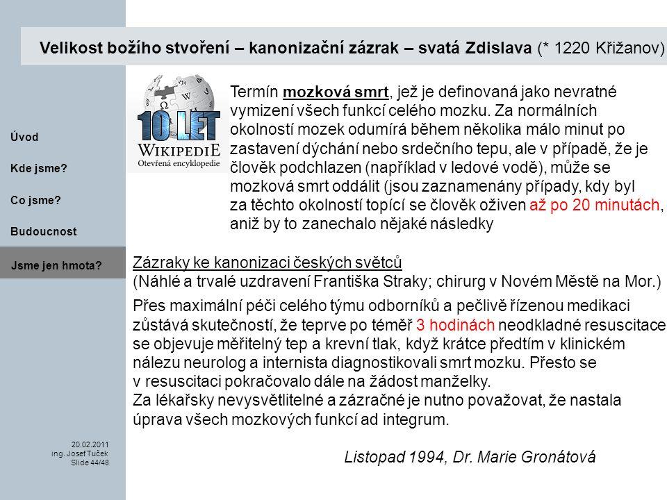 Budoucnost Co jsme. 20.02.2011 ing. Josef Tuček Slide 44/48 Kde jsme.