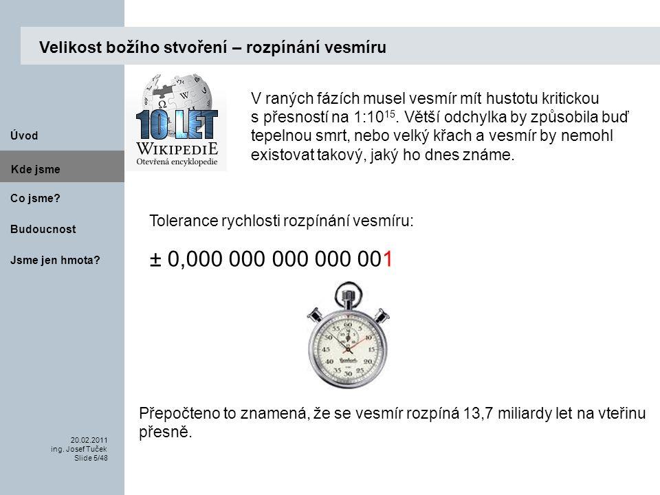 Budoucnost Co jsme. 20.02.2011 ing. Josef Tuček Slide 5/48 Kde jsme.