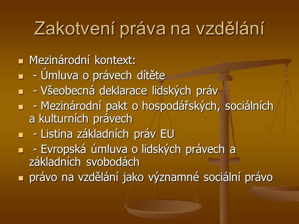 Právo na vzdělání, čl.33 LZPS (1) Každý má právo na vzdělání.