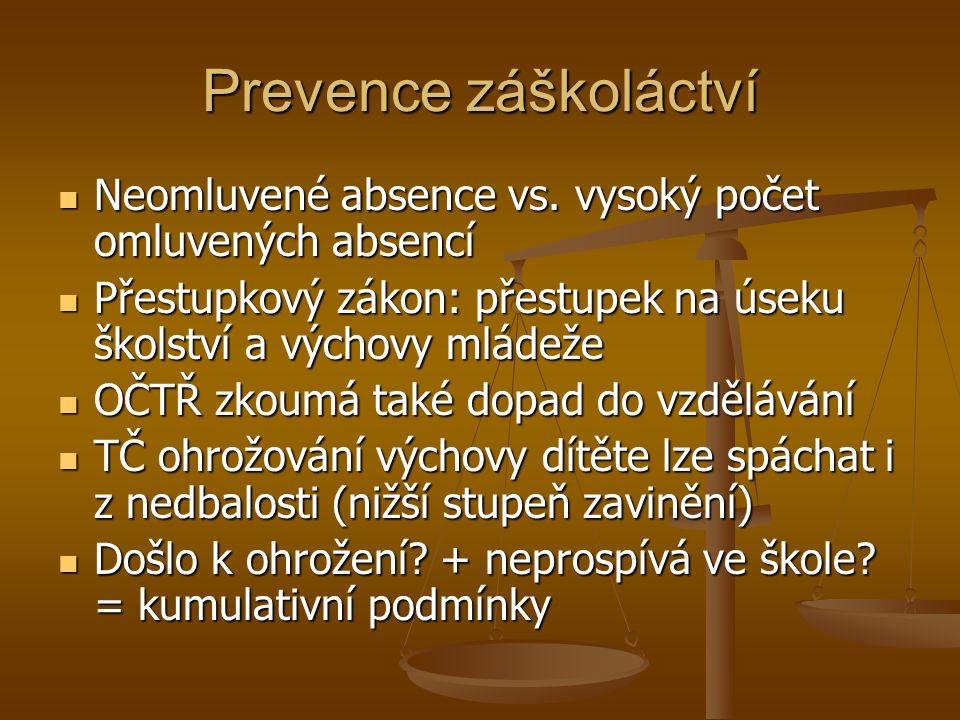 Prevence záškoláctví Neomluvené absence vs. vysoký počet omluvených absencí Neomluvené absence vs.