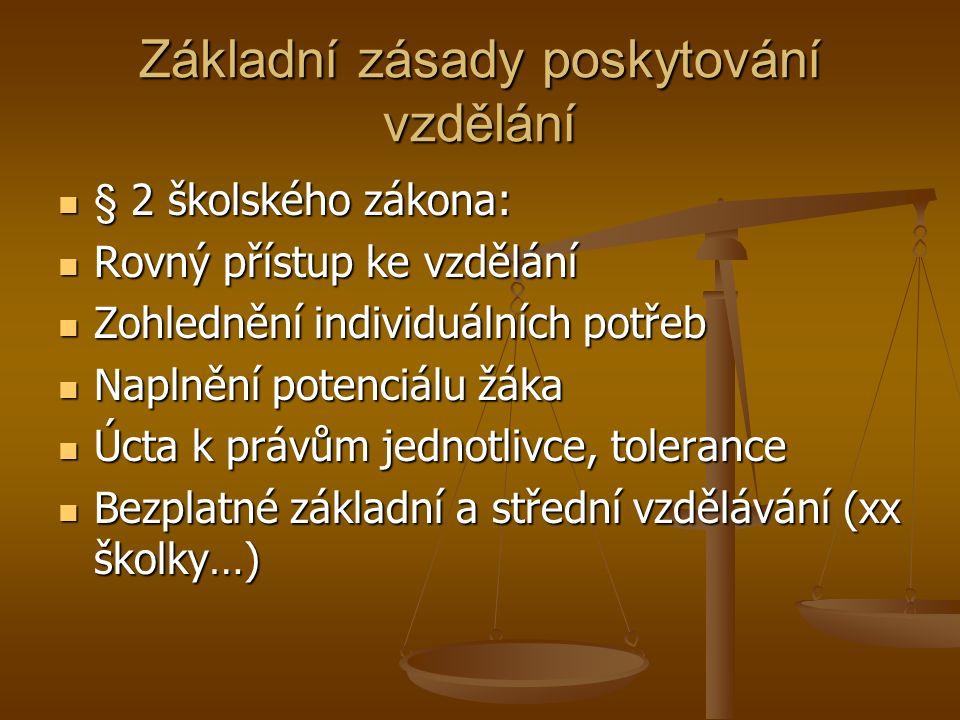 Základní zásady poskytování vzdělání § 2 školského zákona: § 2 školského zákona: Rovný přístup ke vzdělání Rovný přístup ke vzdělání Zohlednění individuálních potřeb Zohlednění individuálních potřeb Naplnění potenciálu žáka Naplnění potenciálu žáka Úcta k právům jednotlivce, tolerance Úcta k právům jednotlivce, tolerance Bezplatné základní a střední vzdělávání (xx školky…) Bezplatné základní a střední vzdělávání (xx školky…)
