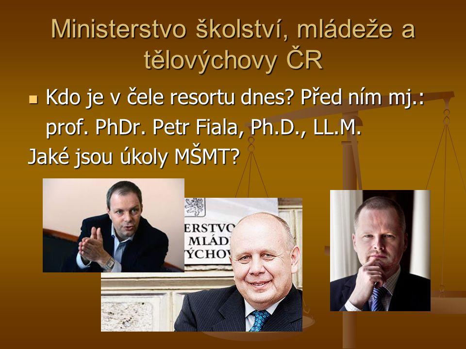 Ministerstvo školství, mládeže a tělovýchovy ČR Kdo je v čele resortu dnes.