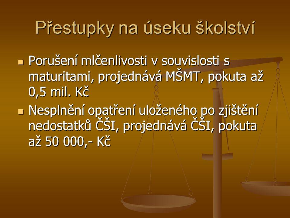 Přestupky na úseku školství Porušení mlčenlivosti v souvislosti s maturitami, projednává MŠMT, pokuta až 0,5 mil.