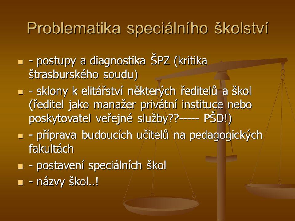 Problematika speciálního školství - postupy a diagnostika ŠPZ (kritika štrasburského soudu) - postupy a diagnostika ŠPZ (kritika štrasburského soudu) - sklony k elitářství některých ředitelů a škol (ředitel jako manažer privátní instituce nebo poskytovatel veřejné služby ----- PŠD!) - sklony k elitářství některých ředitelů a škol (ředitel jako manažer privátní instituce nebo poskytovatel veřejné služby ----- PŠD!) - příprava budoucích učitelů na pedagogických fakultách - příprava budoucích učitelů na pedagogických fakultách - postavení speciálních škol - postavení speciálních škol - názvy škol...
