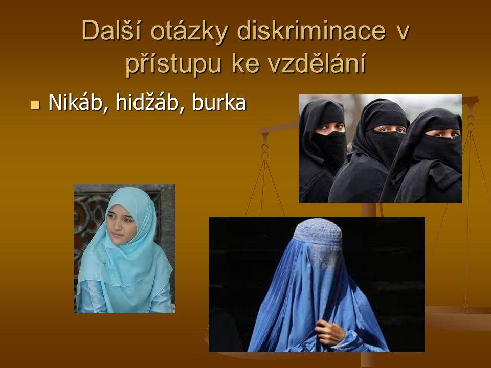 Další otázky diskriminace v přístupu ke vzdělání Nikáb, hidžáb, burka Nikáb, hidžáb, burka