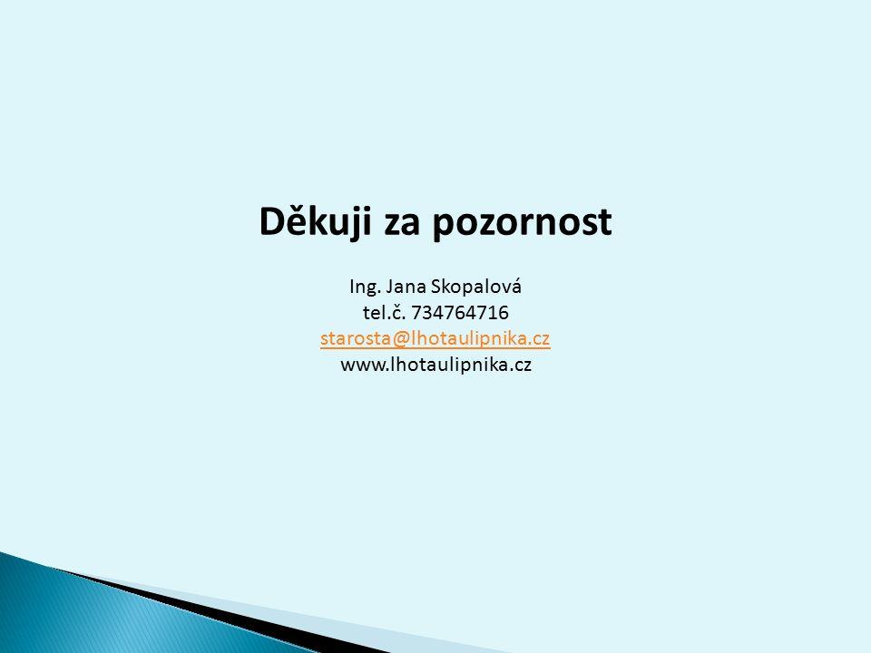 Děkuji za pozornost Ing. Jana Skopalová tel.č.