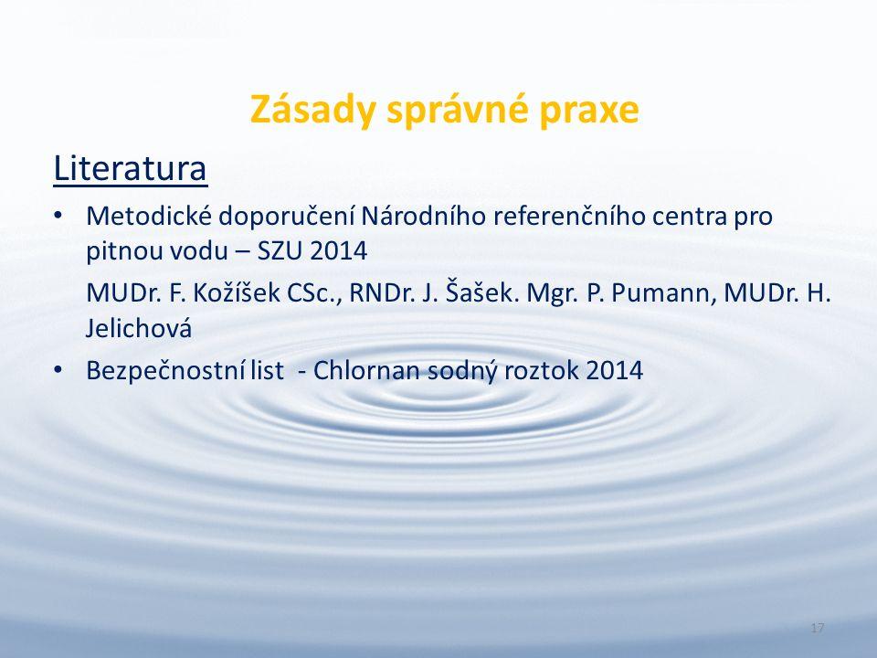 Zásady správné praxe Literatura Metodické doporučení Národního referenčního centra pro pitnou vodu – SZU 2014 MUDr.