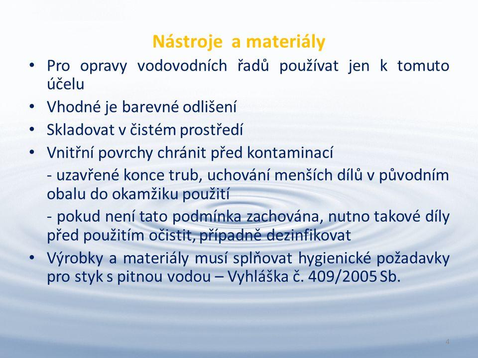 Nástroje a materiály Pro opravy vodovodních řadů používat jen k tomuto účelu Vhodné je barevné odlišení Skladovat v čistém prostředí Vnitřní povrchy chránit před kontaminací - uzavřené konce trub, uchování menších dílů v původním obalu do okamžiku použití - pokud není tato podmínka zachována, nutno takové díly před použitím očistit, případně dezinfikovat Výrobky a materiály musí splňovat hygienické požadavky pro styk s pitnou vodou – Vyhláška č.