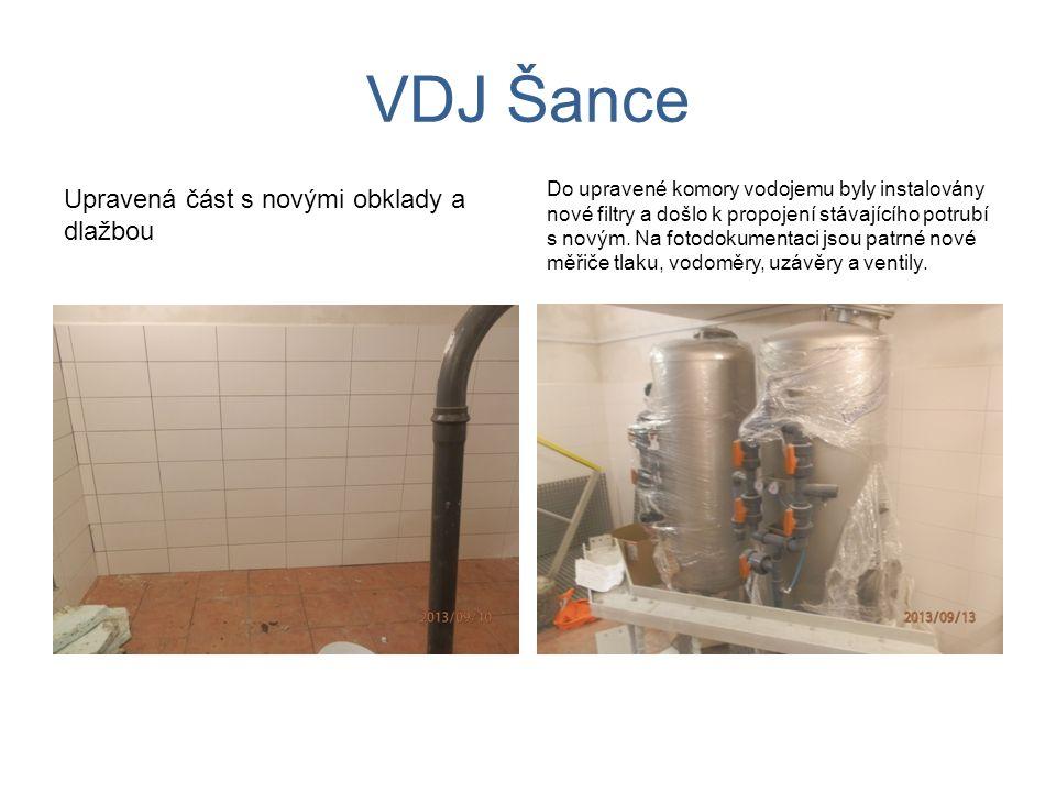 VDJ Šance Upravená část s novými obklady a dlažbou Do upravené komory vodojemu byly instalovány nové filtry a došlo k propojení stávajícího potrubí s novým.