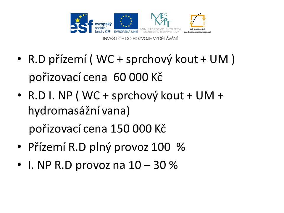 R.D přízemí ( WC + sprchový kout + UM ) pořizovací cena 60 000 Kč R.D I.