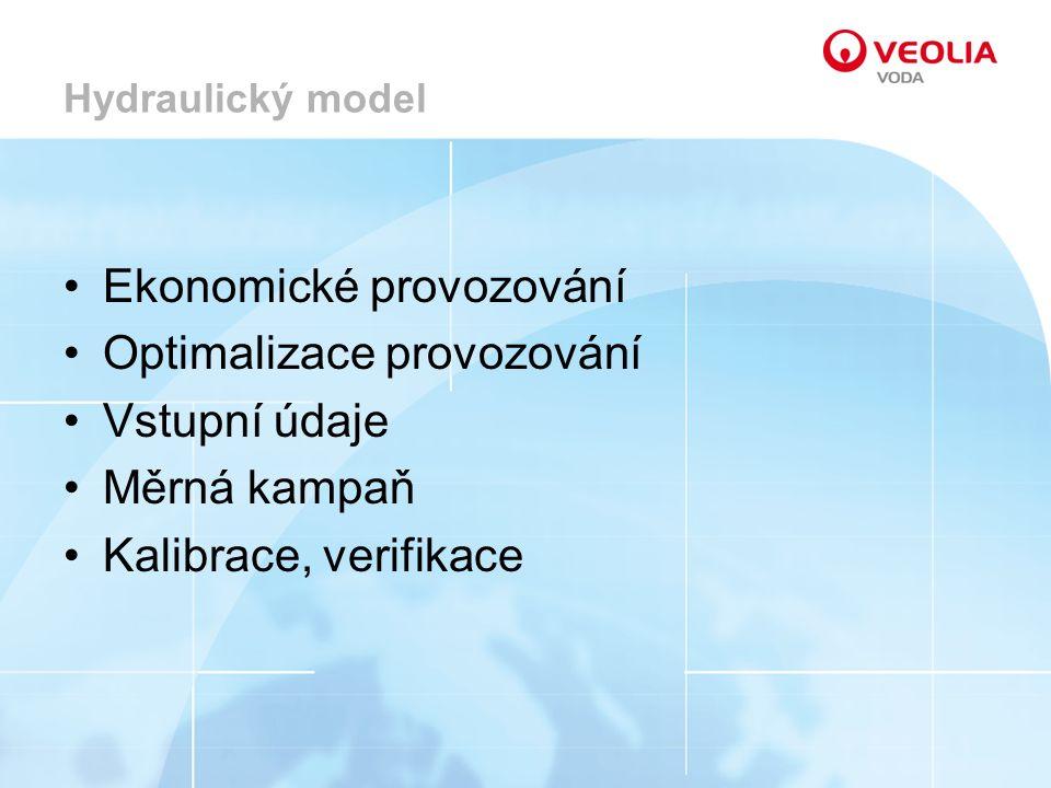 Hydraulický model Ekonomické provozování Optimalizace provozování Vstupní údaje Měrná kampaň Kalibrace, verifikace
