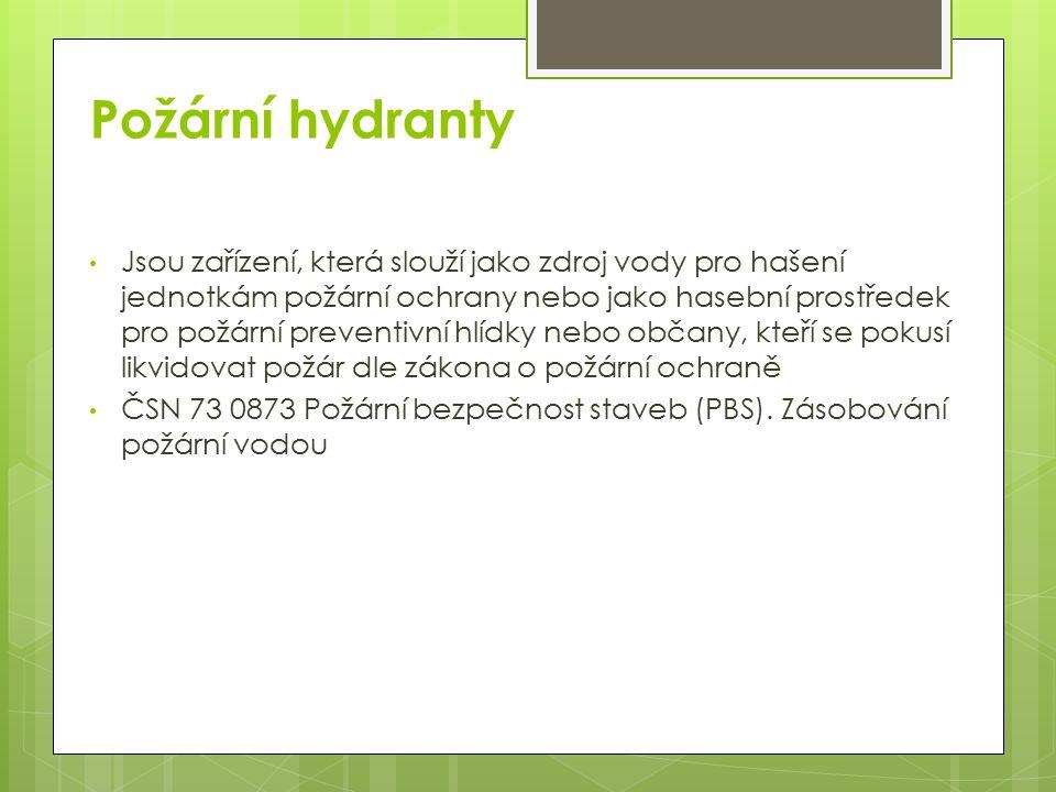 Rozdělení požárních hydrantů 1.Vnitřní (nástěnné) 2.