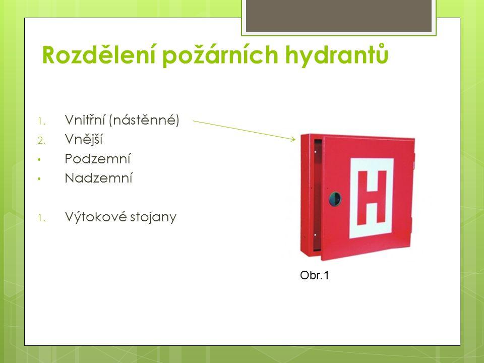 Vnitřní hydranty Slouží zejména k prvnímu požárnímu zásahu preventivní požární hlídkou, zaměstnanci nebo občany Bývají situovány v plechových skříních Ve skříni se nachází vodní potrubí pod tlakem ukončené ventilem, hadice C/D 20m a příslušná proudnice dle typu hadice Obr.2 Obr.3
