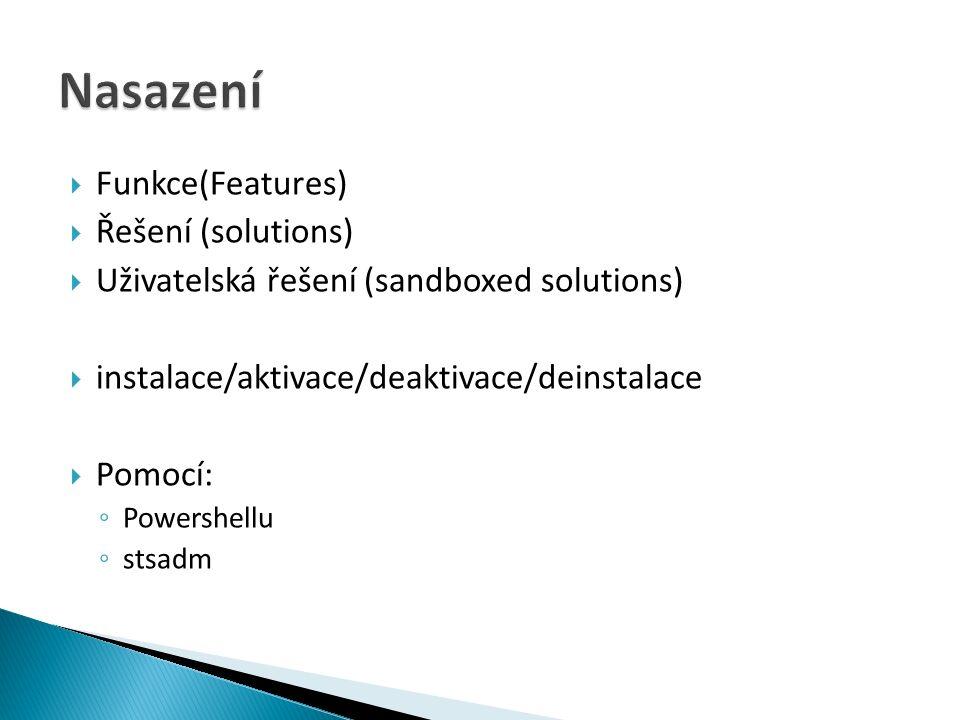  Funkce(Features)  Řešení (solutions)  Uživatelská řešení (sandboxed solutions)  instalace/aktivace/deaktivace/deinstalace  Pomocí: ◦ Powershellu ◦ stsadm