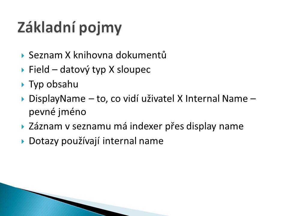  Seznam X knihovna dokumentů  Field – datový typ X sloupec  Typ obsahu  DisplayName – to, co vidí uživatel X Internal Name – pevné jméno  Záznam v seznamu má indexer přes display name  Dotazy používají internal name