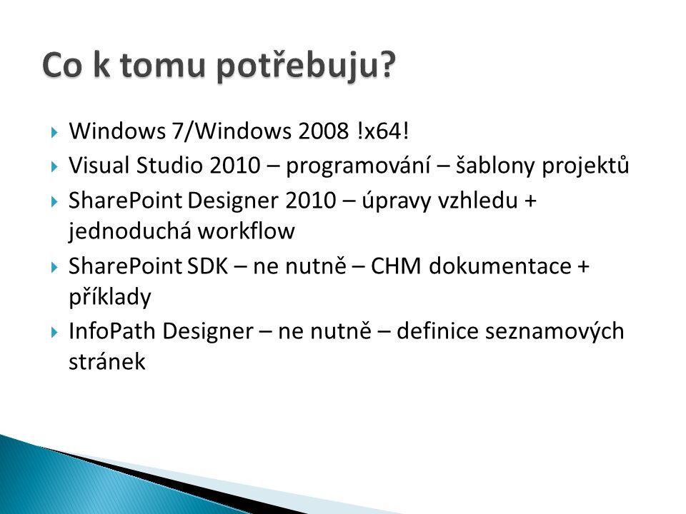 """ Formuláře – dialogy SP  Webparty – komponenty do UI  EventHandlery – odpovídá triggerům, možnost reakce na události v systému  Joby – pravidelně se opakující operace  Sloupce – definice nových """"datových typů  Typy obsahu – definice """"typů řádků  Workflow – modelování bussiness procesů  Workflow aktivity  BDC – komunikace s LOB systémy"""