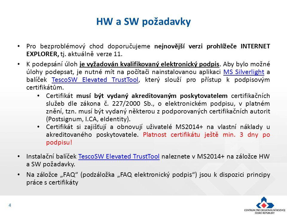 4 HW a SW požadavky Pro bezproblémový chod doporučujeme nejnovější verzi prohlížeče INTERNET EXPLORER, tj.