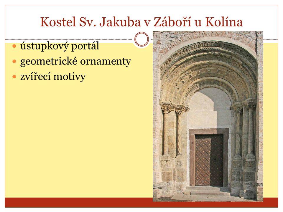 Kostel Sv. Jakuba v Záboří u Kolína ústupkový portál geometrické ornamenty zvířecí motivy