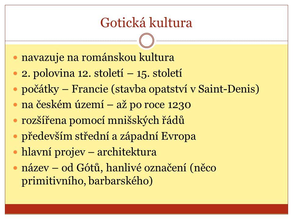 Gotická kultura navazuje na románskou kultura 2. polovina 12.