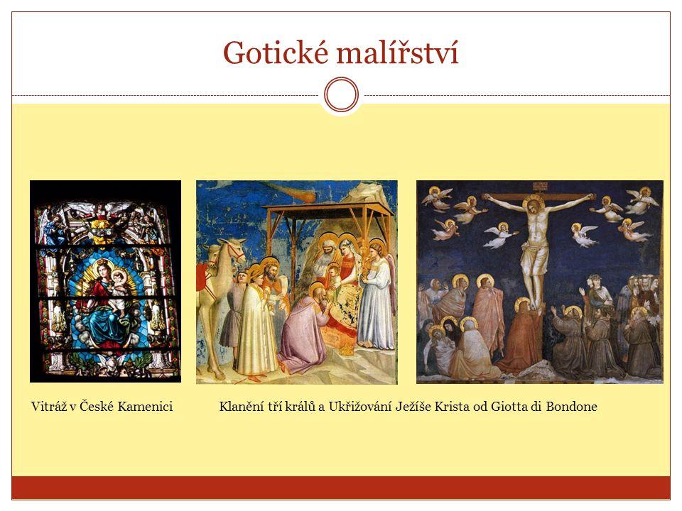 Gotické malířství Vitráž v České KameniciKlanění tří králů a Ukřižování Ježíše Krista od Giotta di Bondone